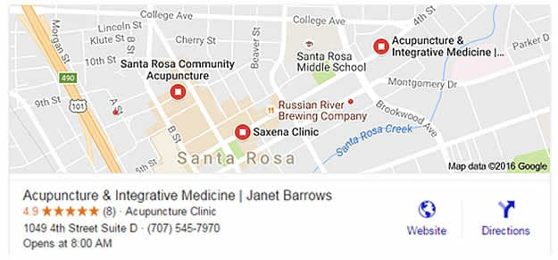 Janet Barrows Acupuncture local 3 pack Google map