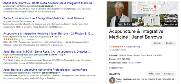 Janet Barrows Acupuncture Santa Rosa search results on Google page 1