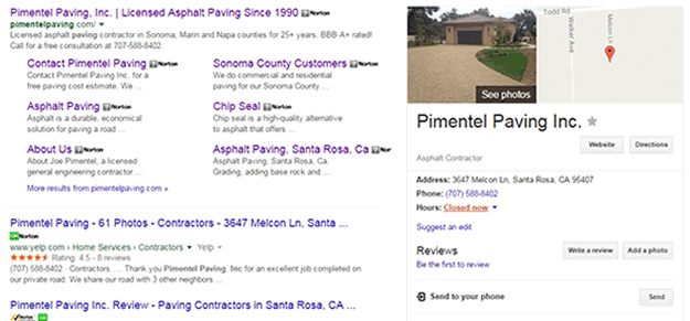 Pimentel Paving Inc. Santa Rosa search results on Google page 1