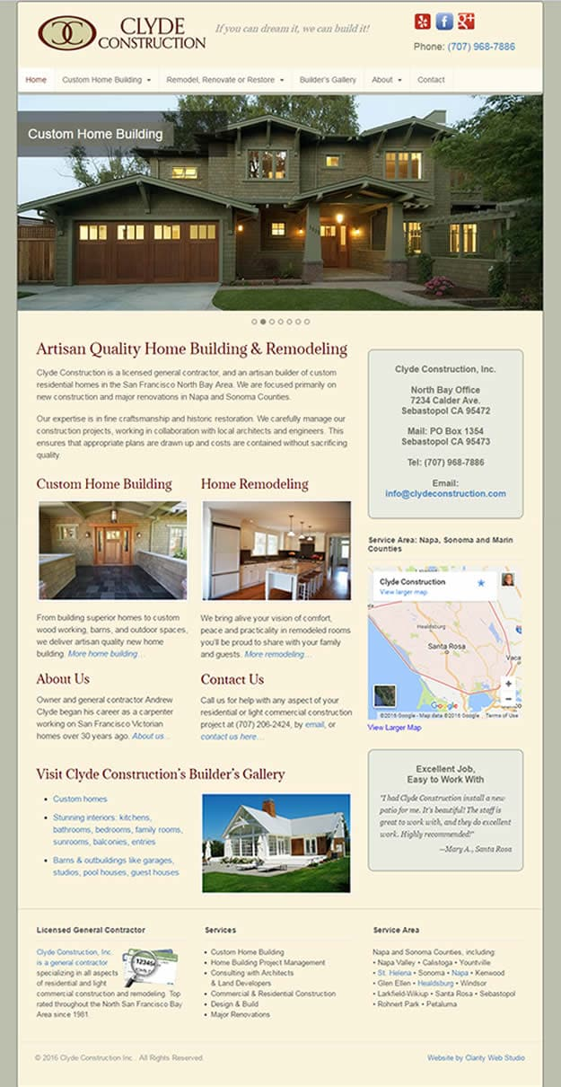 custom home builder web design after technical redesign