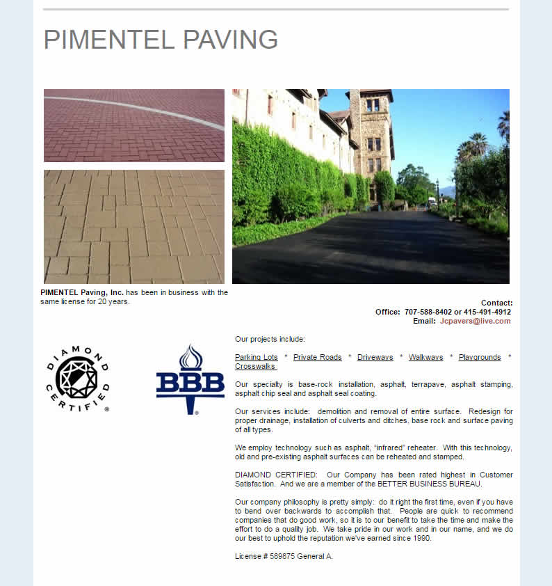Pimentel Paving Inc. before redesign