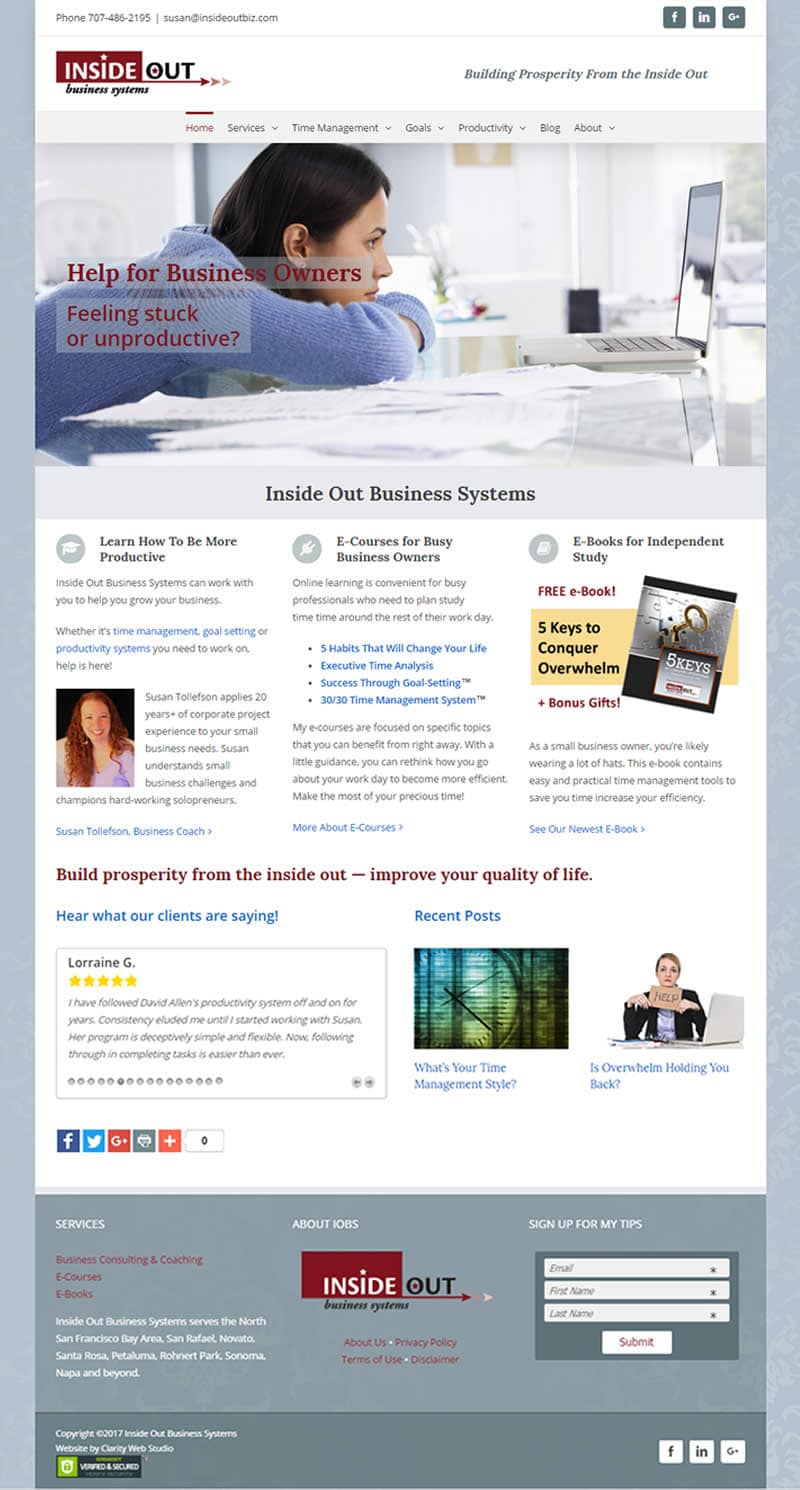 business coach web design by Clarity Web Studio